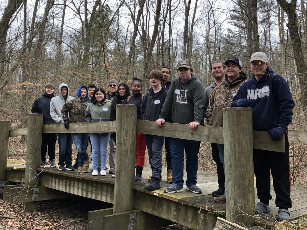 CCTC AMP students at Adkins Arboretum researching for their birdhouse manufacturing project