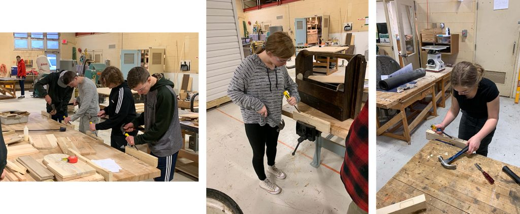 CCTC construction technology students working on small projects in the shop