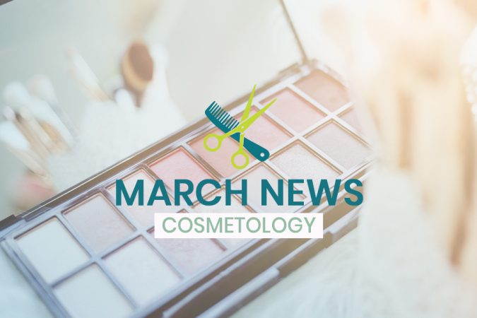 CCTC March Cosmetology news - makeup palette in background